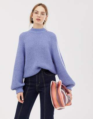 Weekday wide sleeve knitted sweater in light blue