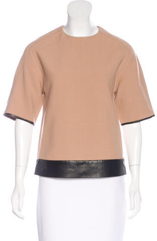 3.1 Phillip Lim 3.1 Phillip Lim Wool Leather-Trimmed Top