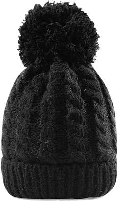 3eb3d493090 Chanvi Women s Winter Beanie Warm Fleece Lining Thick Slouchy Cable Knit Hat  (Black1)