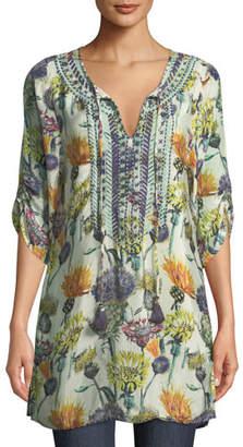 Tolani Cecily Floral-Print Tie-Neck Tunic