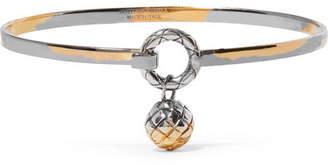 Bottega Veneta Dichotomy Gold-tone Silver Bangle - M