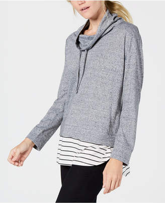 Style&Co. Style & Co Layered-Look Funnel-Neck Top