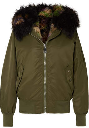 STAND - Simone Shearling-lined Shell Bomber Jacket - Army green