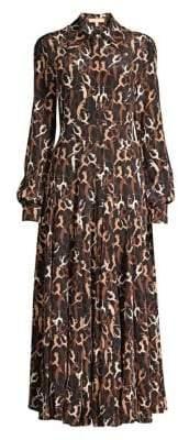 Michael Kors Crushed Dancer Print Silk Shirtdress