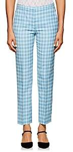 Nina Ricci Women's Checked Wool-Blend Trousers - Blue