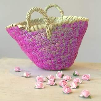 Little Ella James Pink Sequin Bridesmaids Basket With Rose Confetti