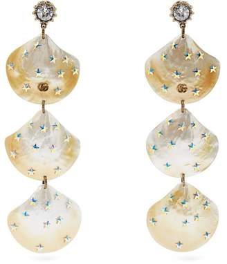 Gucci Gg Mother Of Pearl Shell Drop Earrings - Womens - Pearl