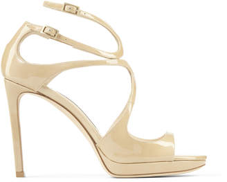 Jimmy Choo LANCE/PF 100 Nude Patent Leather Strappy Stiletto Sandals
