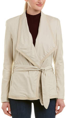 Lamarque Filia Leather-Trim Linen-Blend Jacket
