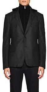 Prada Men's Compact Wool Twill Hooded Sportcoat - Charcoal