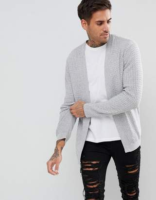Asos DESIGN Lightweight Cable Cardigan In Pale Gray