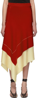Victoria Beckham Red Asymmetric Long Skirt