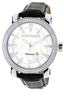 Mother of Pearl Luxurman Phantom 2142 Stainless-Steel Quartz .18ct Diamond White Dial Mens Watch