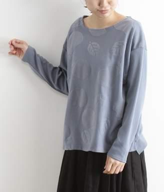 秋の実り柄フロッキープリントプルオーバー(B・ブルー)[SALE]