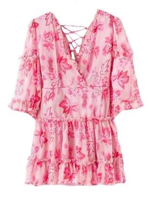 Goodnight Macaroon 'Simone' Floral Criss Cross Back Mini Dress