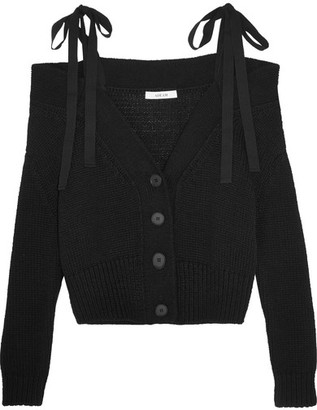 Adeam - Off-the-shoulder Cotton And Cashmere-blend Cardigan - Black $575 thestylecure.com
