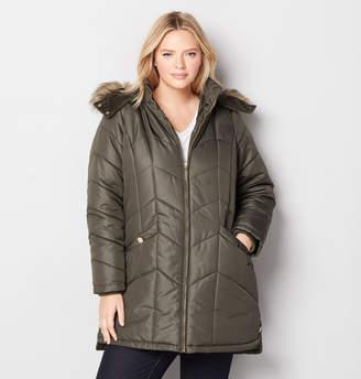 Avenue Chevron Quilt Coat with Hood