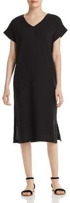 Eileen Fisher Silk V-Neck Midi Dress