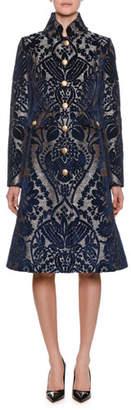 Dolce & Gabbana Single-Breasted Button-Front Velvet Damask Jacquard Coat