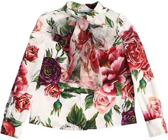 Dolce & Gabbana Bow Rose Printed Cotton Blend Shirt
