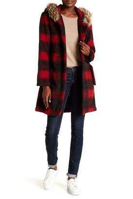 BB Dakota Lia Coat w/ Faux Fur Trim Hoodie