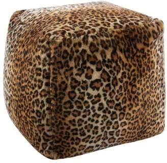 Nourison Fur Leopard Faux Fur Cube