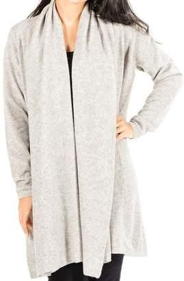 Black Soft Grey Longline Cashmere Cardigan
