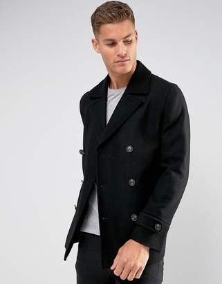 Asos Design DESIGN wool mix peacoat in black