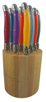 Laguiole By Louis Thiers 12 Piece Carnaval Multi Coloured Handles in Wood Block