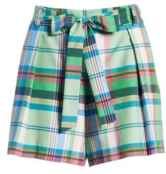 Pleated Plaid Shorts