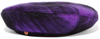 Versace Leather-trimmed Tartan Wool Beret - Purple