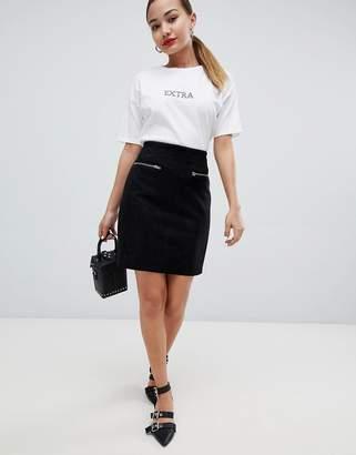 Glamorous faux suede zip detail mini skirt