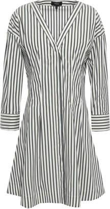 Theory Striped Cotton-blend Poplin Mini Dress
