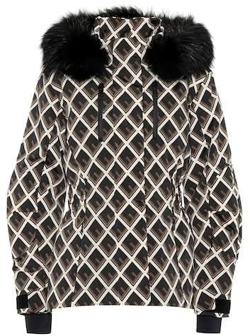 Printed fur-trimmed ski jacket