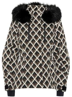 Fendi Printed fur-trimmed ski jacket