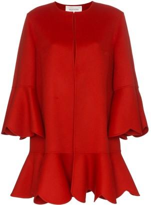 Valentino collarless ruffled coat