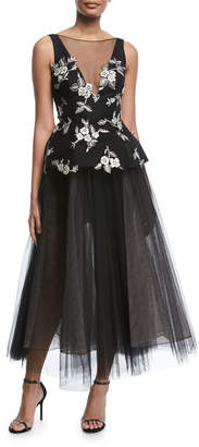 Monique Lhuillier Sleeveless V-Neck Embroidered Peplum Gown with Tulle Skirt