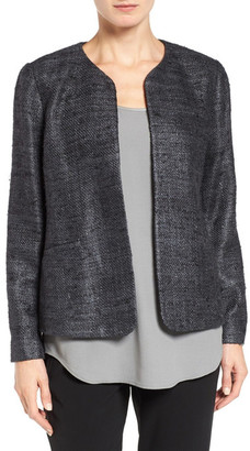 Eileen Fisher Hand Loomed Sparkle Matka Silk Jacket $338 thestylecure.com