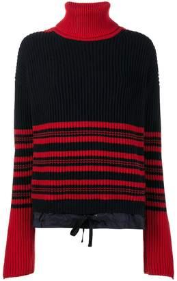 Moncler high-neck striped knitted jumper