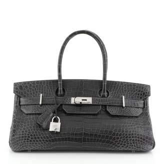 Hermes Birkin Shoulder Grey Exotic leathers Handbags