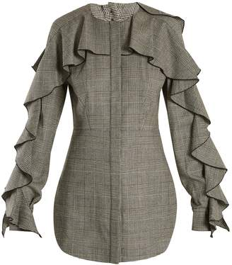Sara Battaglia Prince of Wales-checked wool-blend top