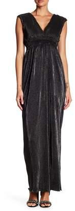 Romeo & Juliet Couture Pleated Metallic V-Neck Maxi Dress