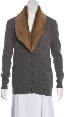Ralph Lauren Purple Label Fur-Trimmed Cashmere Cardigan