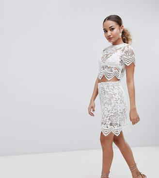 boohoo Scallop Trim Lace Mini Skirt
