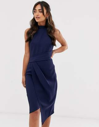 Lipsy halterneck bodycon dress in navy