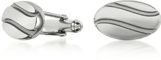 Forzieri Silver Plated Stripes Cuff Links