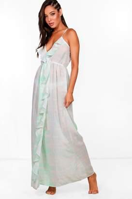 boohoo Vanessa Tie Dye Frill Maxi Beach Dress