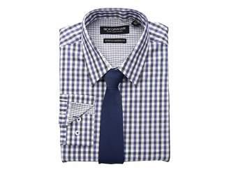 Nick Graham Dobby Plaid CVC Stretch Dress Shirt Tie Set