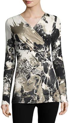 Roberto Cavalli Floral Surplice T-Shirt