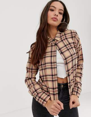 Asos Design DESIGN cropped long sleeve shirt in brown check
